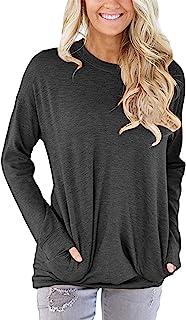 Women Pocket Shirts Casual Long Sleeve Tunic Tops Round...