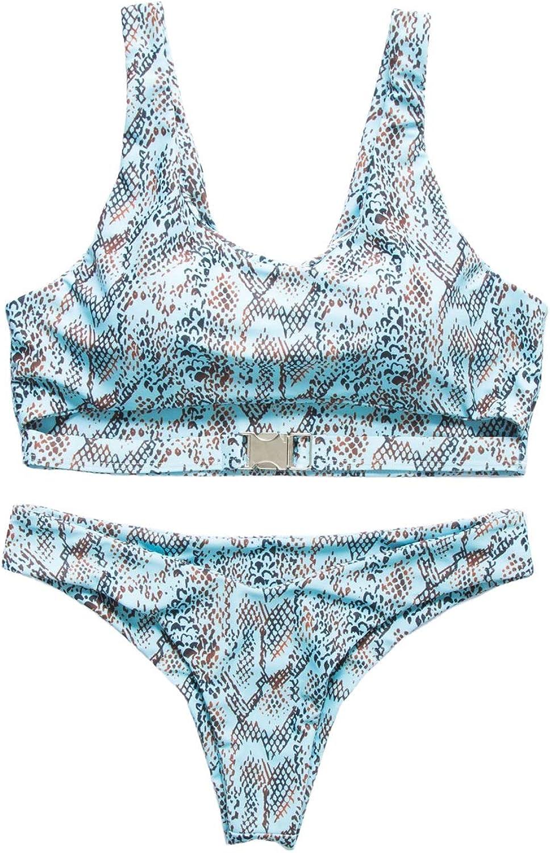 Womens Sexy Scoop Neck Straps Cutout High Cut Thong 2PCS Bikini Sets Swimsuit (color   bluee Snake, Size   S)