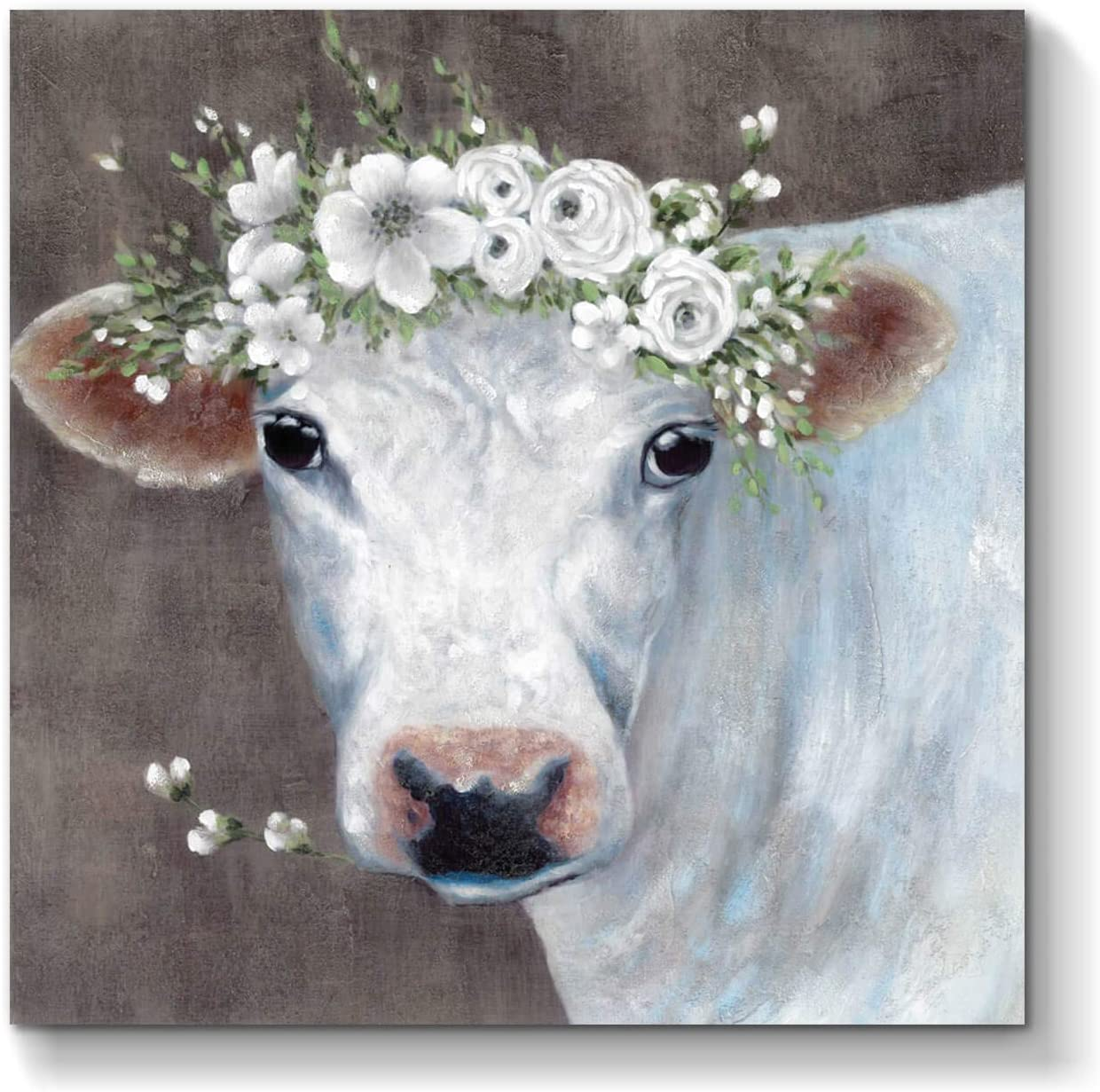 Limited Long Beach Mall time cheap sale White Cow Picture Wall Art: Artwork Abstract Animal Painting on