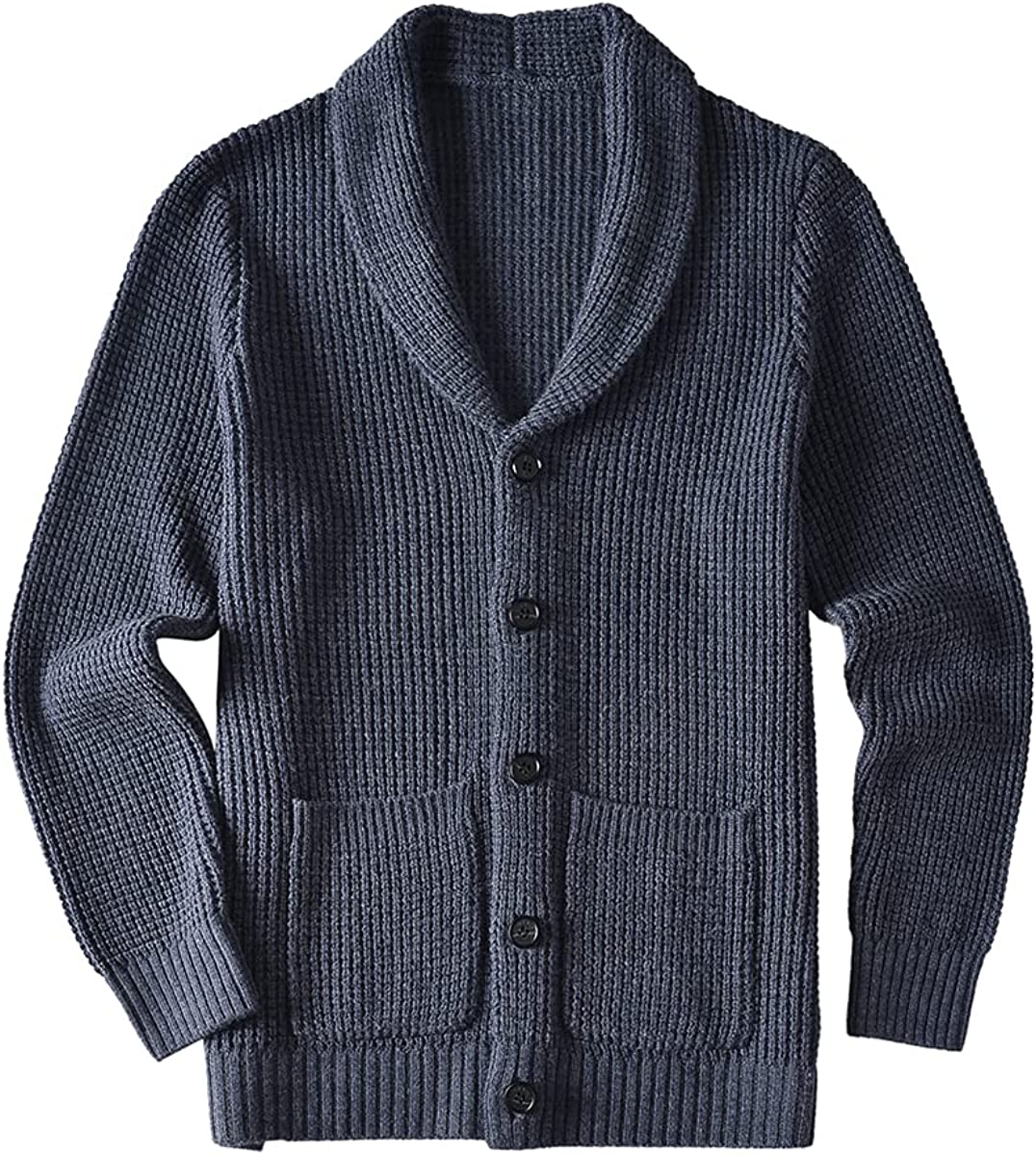 ZHILI Men's Casual Slim Thick Knitted Shawl Collar Cardigan Sweaters Pockets