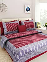 RAJSTHANI JAIPURI TRADITIONAL SANGANERI PRINT 144 TC COTTON DOUBLE SIZE BEDSHEET WITH TWO PILLOW COVER