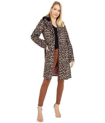 Kate Spade New York Leopard Wool Coat w/ Faux Fur Collar (Leopard) Women