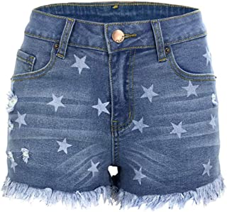 Inlefen Broken Hole Jeans Women's Sexy Tassel Side Open Cowboy Shorts