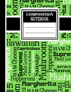 Composition Notebook: Novelty Pizza Newspaper Print - Lined Notebook (College Ruled) for Students and Teachers