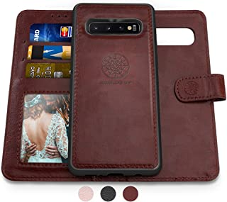 Shields Up Galaxy S10 Plus Wallet Case, [Detachable] Magnetic Wallet Case, Durable and Slim, Lightweight with Card/Cash Slots, Wrist Strap, [Vegan Leather] Cover for Samsung Galaxy S10 Plus -Brown