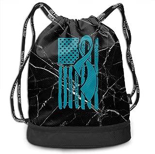 Drawstring Pack Ovarian Cancer Awareness Ribbon American Flag Men & Women Yoga Dance Travel Shoulder Bags