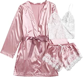 Verdusa Women's 3 Pieces Silk Lace Satin Lingerie and Belted Robe Set