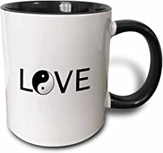 3dRose 180486_4 Love Text With Black And White Chinese Yin Yang Peace Symbol Word Art Two Tone Mug, 11 oz, Multicolor