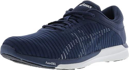 ASICS T835N Men's FuzeX Rush Adapt Running schuhe, Dark Blau Weiß Smoke Blau - 6.5