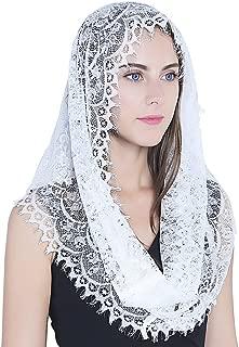 White Infinity Scarf Mantilla - Catholic Veil Church Veil Head Covering Latin Mass