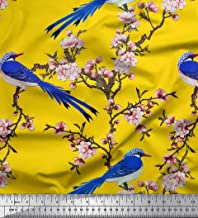 Soimoi Yellow Poly Crepe Fabric Blossom & Paradise Whydah Bird Fabric Prints by Yard 42 Inch Wide