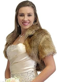 Bridal Fur Shrug, Vintage Brown Faux Fur Bolero Jacket, Wedding Fur Jacket