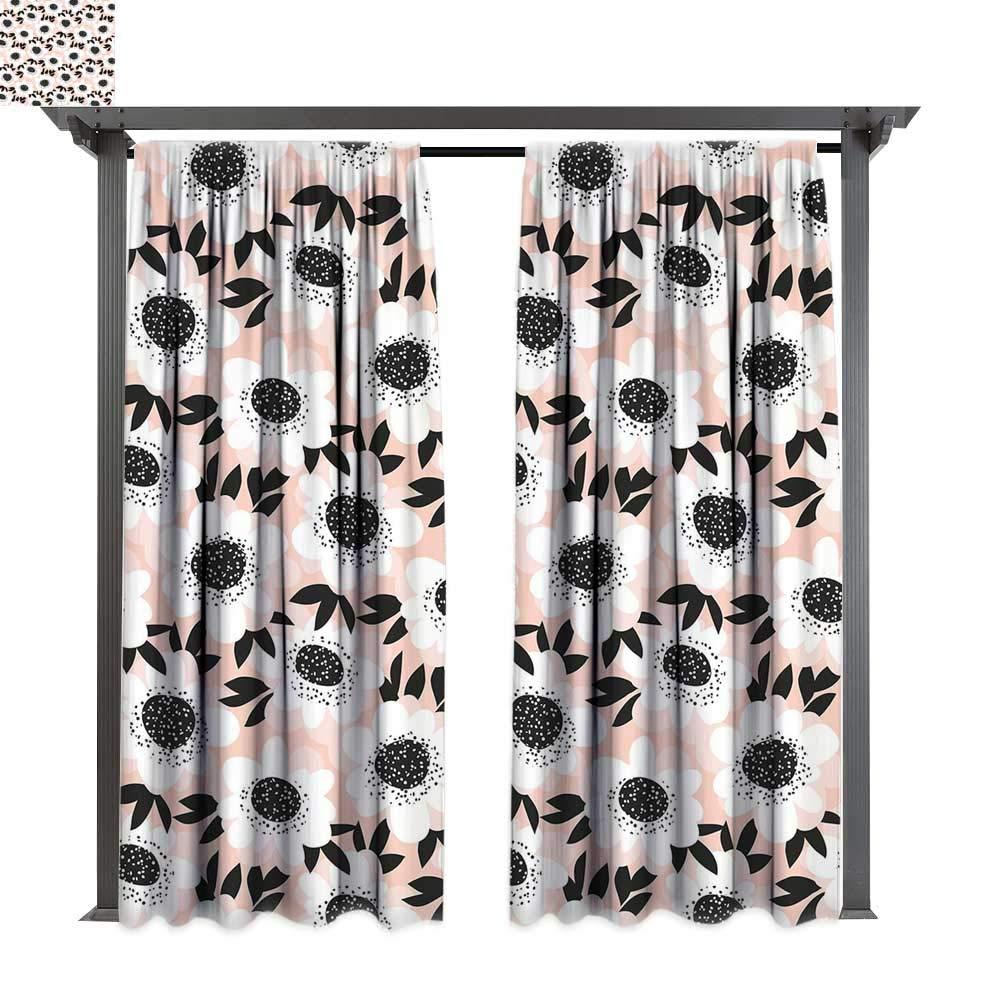 Leinuoyi - Cortina de privacidad para exteriores para pergola, flores de amapola en el jardín, planta fresca, fragancia de naturaleza idílica, impresión artística, aislamiento térmico, cortina repelente al agua para balcón: Amazon.es: