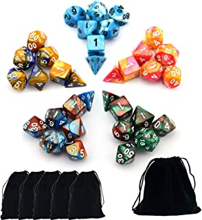 Smartdealspro 5 x 7-Die (35 Pieces) Two Color Polyhedral Dice Pathfinder Dungeons and Dragons DND MTG RPG Table Games D4 D6 D8 D10 D12 D20 with Free Pouches