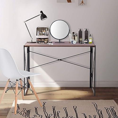 FurnitureR Sin Ensamblaje Mesa Plegable Auxiliar Escritorio Estilo Industrial Imitación Madera Marrón Vintage (100x50...