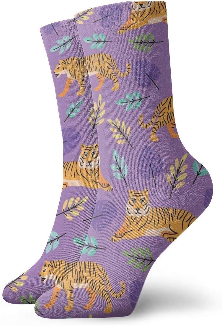 Unisex Casual Cute Cartoon Tiger Socks Moisture Wicking Athletic Crew Socks