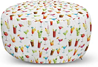 Decorative Soft Foot Rest with Removable Cover Living Room and Bedroom Vermilion Multicolor Lunarable Mexican Ottoman Pouf Funny Sombrero Hats Maracas Ornaments Print