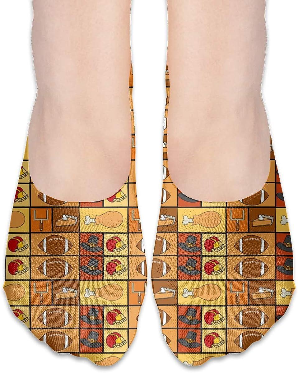 No Show Socks Women Men For Thanksgiving Football Legs Pies Flats Cotton Ultra Low Cut Liner Socks Non Slip