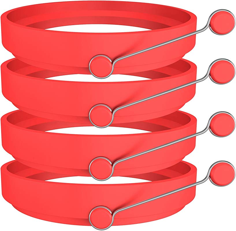 Ozera 4 Pack Silicone Egg Rings Round Egg Cooker Maker Non Stick Fried Egg Ring For Frying Eggs Red