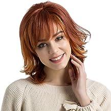 Novopus:Pelo humano pelucas sin tapa Cabello humano Rizado Ondulado Pequeño Corte a capas Con flequillo Parte lateral Pelo reflectante/balayage