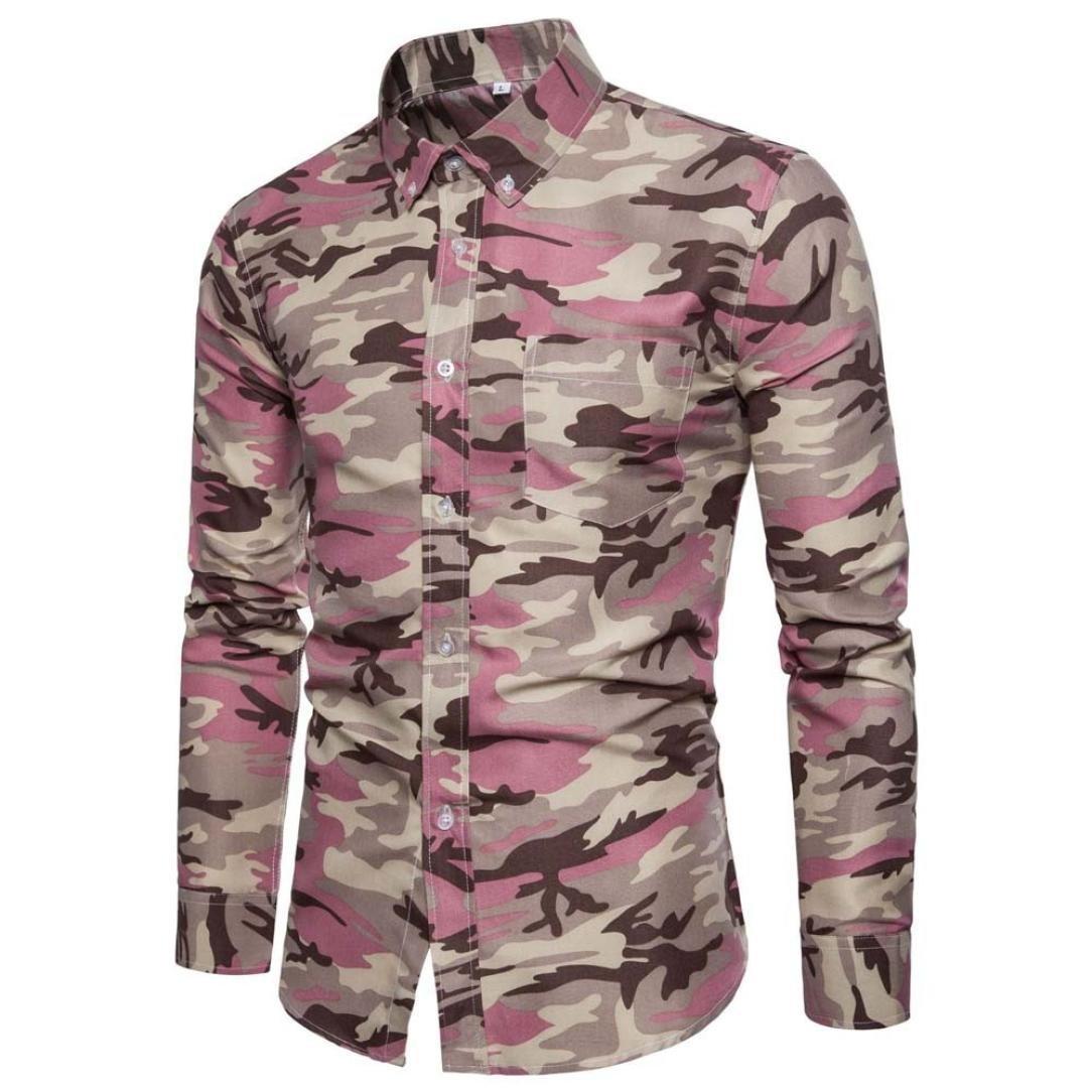 Hombre Casual camisa de manga larga Business Slim Fit Camiseta Impresión Blusa Top Hombres camuflaje Print Camiseta de manga larga, otoño/invierno, Hombre, color Rosa, tamaño medium: Amazon.es: Deportes y aire libre