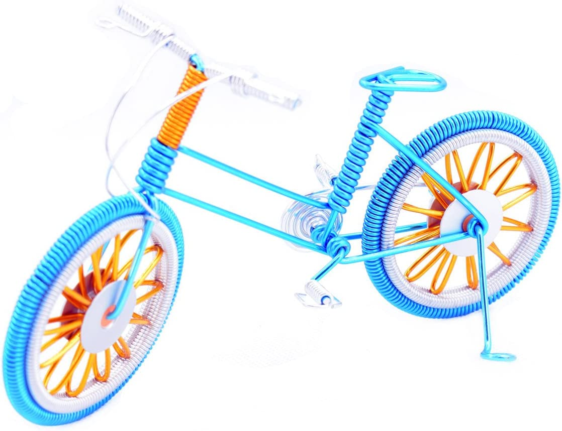 """A DECALS Bike Metal Model,7"""" Blue Bicycle Handmade Artwork Home Office Desktop Decoration Collectible Vehicles(Blue)"""
