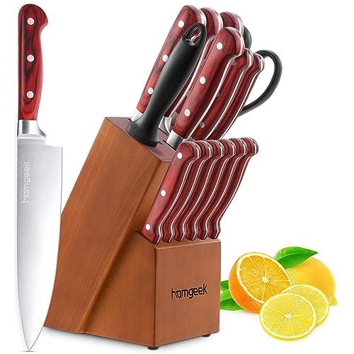 homgeek Couteau de Cuisines, Ensemble de Couteaux Professionnels avec Bloc en Bois, German Stainless Steel Lot de Couteaux avec Support en Bois, 15 Pièces