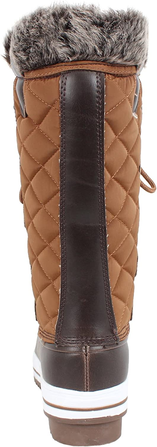 REFRESH Womens Quilted Mid Calf Fur Water Resistant Snow Boots Boots, Tan, 10