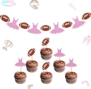 Touchdowns or Tutus Banner Gender Reveal Cupcake Toppers Glitter Baby Shower Party Supplies Decorations Kit 24 Packs
