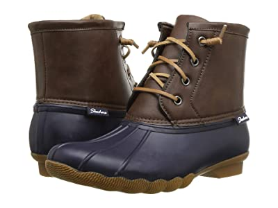SKECHERS Mid Lace-Up Duck Boot (Navy/Brown) Women