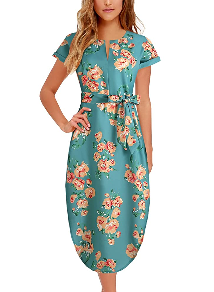 Women's Midi Dresses Side Slit Floral Print Loose Casual Long Dress with Belt BK318