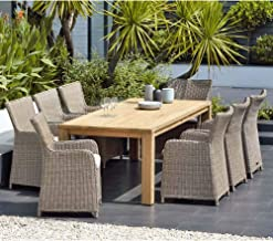 Cancun 2.2M Teak Timber Table and 8 Cora Wicker Chairs Dining Setting - Outdoor Dining Settings, Outdoor Furniture - Bay G...
