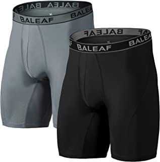 BALEAF 9 Inches Men's Boxer Shorts Briefs Fly Active Underwear Sports Cool Dry Performance Pack of 2