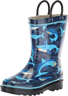 Western Chief Boys Waterproof Printed Rain Boot with Easy Pull on Handles