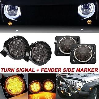 $37 » Sponsored Ad - 2007-2018 JK 2PCS Turn Signal Lights + 2PCS Side Marker Fender Light Smoke Lens Front Replacement Amber LED...