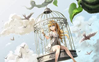 Jigsaw Puzzle 1000 Piece Wooden Puzzle -Girl Cartoon in Bird Cage - Family Decorations, Unique Birthday Present Suitable for Teenagers and Adults