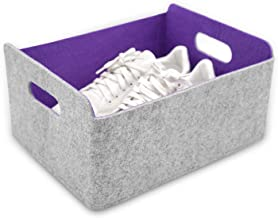 Welaxy Collapsible Storage Bins Foldable Cloth Storage Cube Basket Bins Organizer Containers Drawers (Purple)