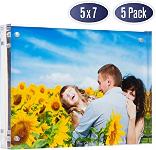 Dasher Products Acrylic Picture Frame 5x7 - Double Sided Magnetic Photo Frame, 24 mm Thick Clear Picture Frame, 5 x 7 Inches Acrylic Frame, Modern and Self Standing for Desktop Display (5 Pack)