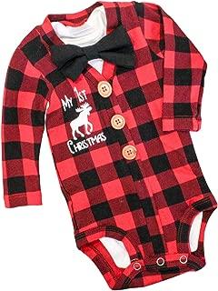 Newborn Baby Boys Christmas Outfit My First Christmas Bodysuit Xmas Plaid Romper