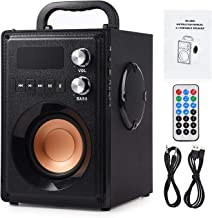 Hengwei Portable Wireless Bluetooth Speaker 20W Subwoofer Heavy Bass Wireless Stereo Outdoor/Indoor Speakers Support Remote Control FM Radio TF Card LCD Display for Home Party Smartphone Computer PC