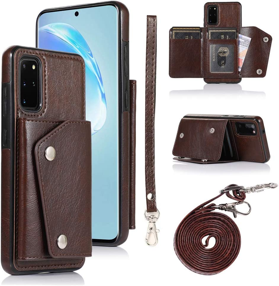 LUVI for Galaxy S20 Plus 5G Wallet Case with Crossbody Neck Strap Handbag Wrist Strap Protective Cover with Credit ID Card Holder Slot PU Leather Case for Galaxy S20 Plus 5G Brown