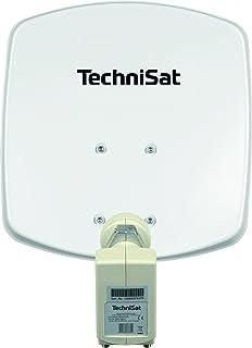 TechniSat DIGIDISH 33 – Satelliten Schüssel für 2 Teilnehmer (33 cm kleine Sat Anlage   Komplettset mit Wandhalterung und Universal Twin LNB) weiß
