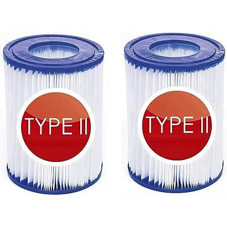Lot de 2 cartouches filtrantes de rechange Bestway type II - Réutilisables - Pour pompe à filtre Bestway 58094 - Gonflable - Pour piscine familiale