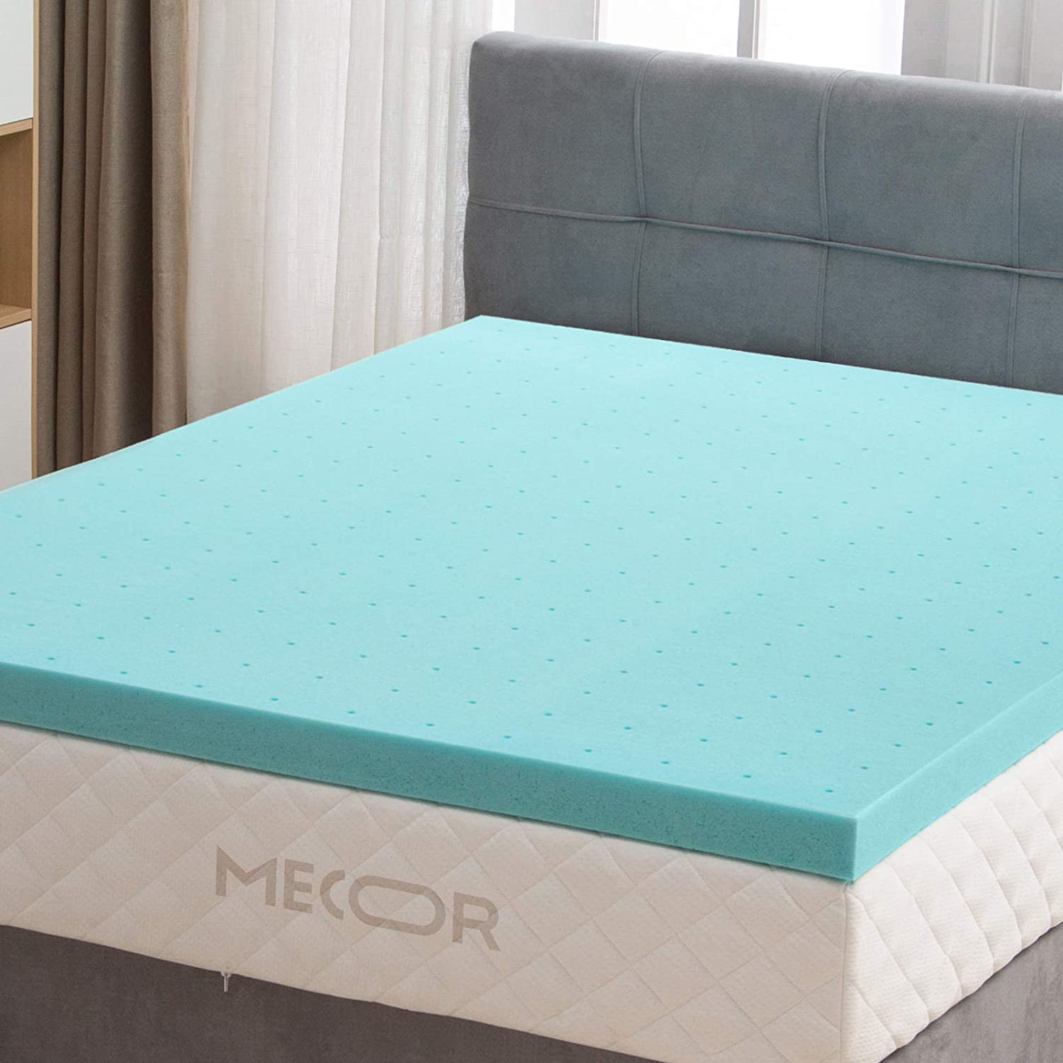 mecor 3 Fort Worth Mall Inch in Mattress Topper Infused Over item handling ☆ Size-100% Queen Me Gel