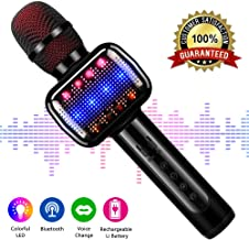 Karaoke Microphone, Microphone Wireless Kids Microphones with Bluetooth Speaker Portable Handheld Toy Karaoke Machine Music Sing Mic for Girl Boy Child Home Party KTV Outdoor