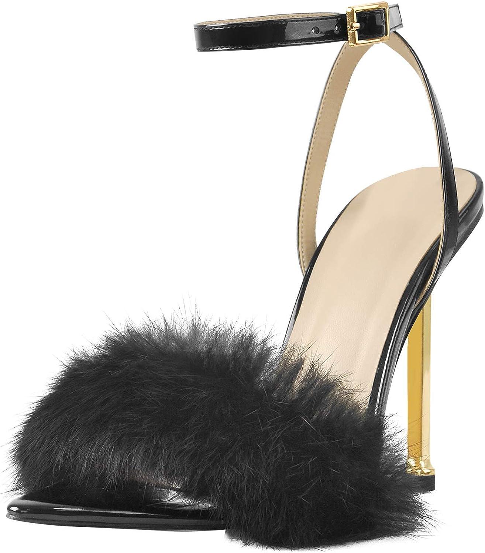 MissHeel Fluffy Heels Ankle Strap Gold High Heels with Fur
