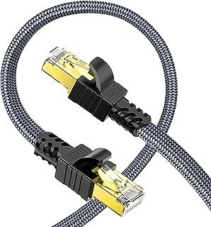 Snowkids Cavo Ethernet 5m, Cat7 Alta velocità Cavo di Rete 10Gbit/s 600MHz Piatto Nylon Professionale Placcato STP LAN RJ4...