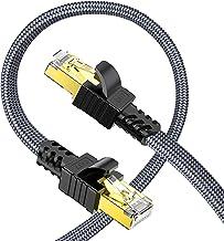 Câble Ethernet 5m, Snowkids Cat 7 Cable RJ45 Haut Débit 10Gbps 600MHz Cable Réseau Plat Nylon Câble STP LAN Câble Internet...