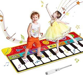 OMEW Tapis de piano pour enfant - 8 sons d'instrument - 5 modes de jeu - 10 touches de piano - 148 x 60 cm