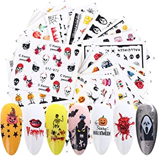 Halloween Nail Decals Stickers Water Transfer Nail Art Stickers 24 Sheets Skull Pumpkin Bat Ghost Witch Spider Leaf Nail Stickers for Women Halloween Party Favors Manicure Tips Charms Decoration